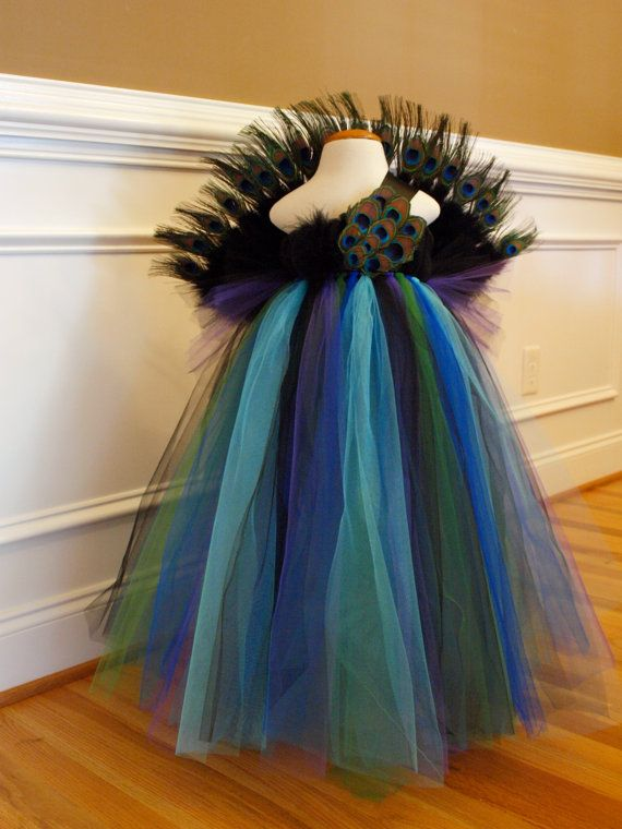 Peacock Tutu Dress Costume for Little Girls by ShopaholicandBabies, $120.00
