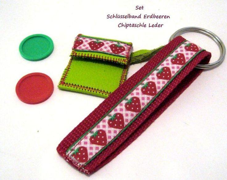 ♥Schlüsselanhänger Erdbeeren + Chiptasche Nappaleder- apfelgrün- Schlüsselanhänger Gurtband mit Erdbeeren & großem Schlüsselring + Einkaufschip...