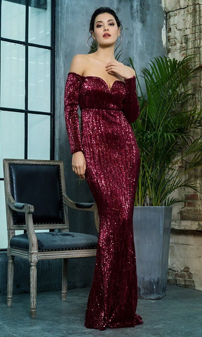 4c8598d2e09 I m A Mystery Wine Red Sequin Long Sleeve Off The Shoulder V Neck Trumpet  Maxi Dress
