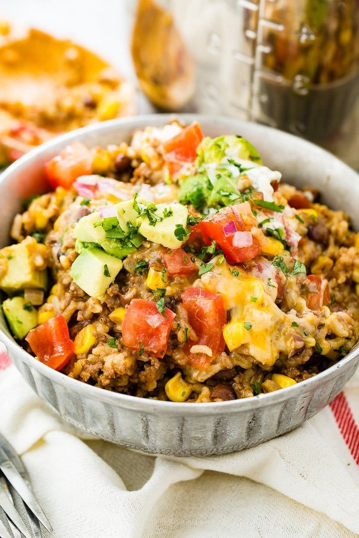 Instant Pot Ground Beef Burrito Bowls Oh Sweet Basil Recipe Pot Recipes Ground Beef Instant Pot Dinner Recipes