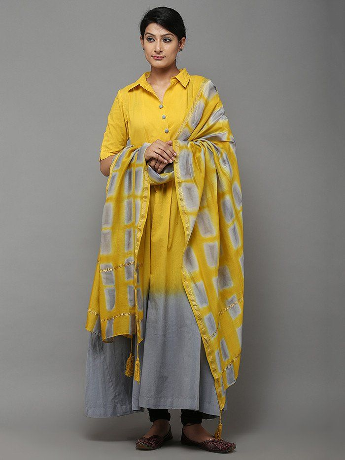 Yellow Grey Tie and Dye Cotton Kurti with Chanderi Dupatta - Set of 2