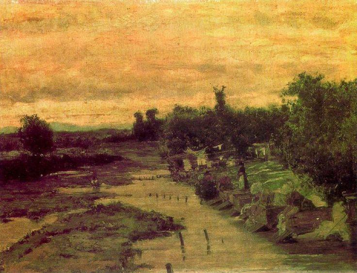 """""""Orillas del Manzanares"""" (1879), pintado por Casimiro Sainz y Saiz , (1853 – 1898), pintor español. Realismo-Naturalismo. Museo Municipal de Bellas Artes, Santander (España)"""