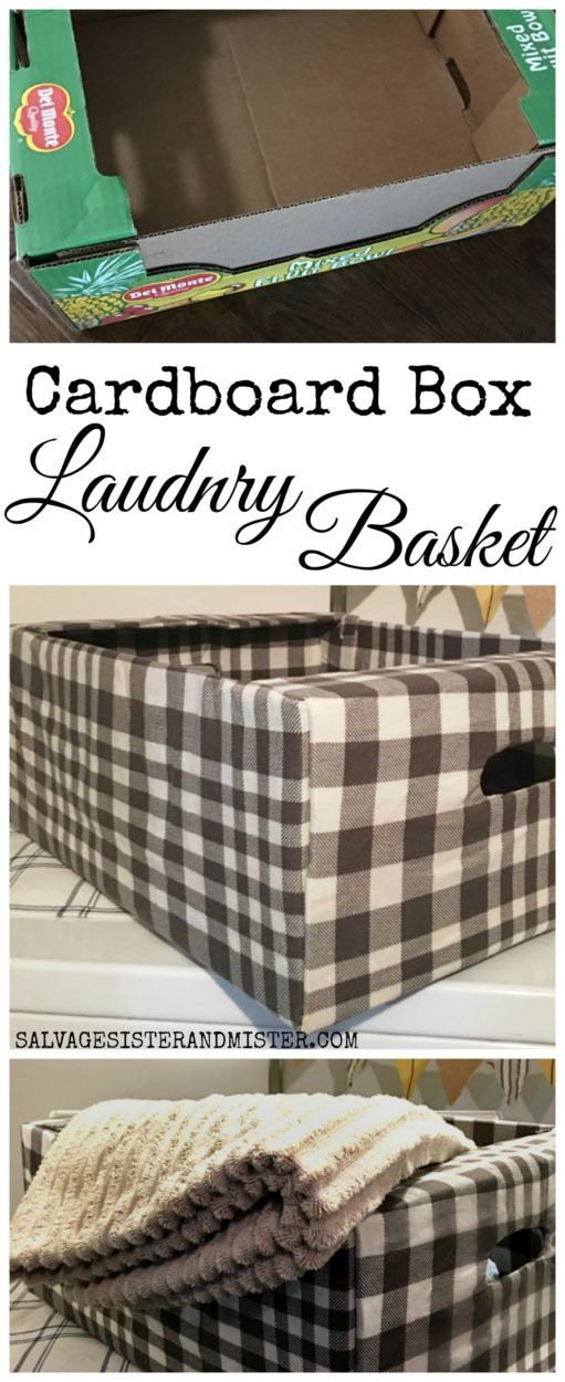 A Costco box was repurposed or upcycled to create a lightweight cardboard box laundry basket. Get this tutorial to reuse your cardboard boxes. Laudry room decor and perfect for kids to use as it's easy to carry. #reuse #repurpose