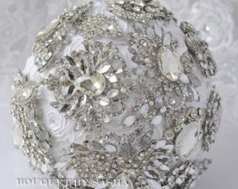 Blanco boda ramo de broche ramo de broche de diamantes de imitación, ramo de novia, ramo de cristal plata broche, bouquet de lujo, ramo de Dama de honor.