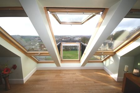 If you have the roof space, use it! The triple VELUX CABRIO installation adds value to this maisonette, as well as a stunning feature to enjoy. Via Bute Property.
