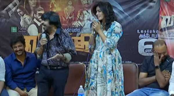 T Rajendar insults Sai Dhansika as Venkat Prabhu Krishna Vidharth cheer him on stage