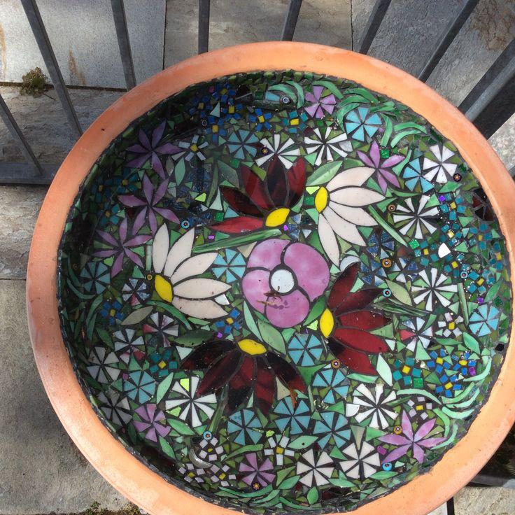 Mosaic birdbath. Glass