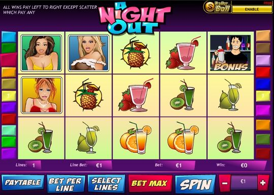 Free A Night Out slot machine is one of the most popular games by Playtech. It comes with a wide variety of features and symbols depicting young and beautiful women. Here you're going to find free spins, standard wilds, scatters and a unique 'Dollar ball' feature. Check out some more Playtech slots, start with The Incredible Hulk slot!