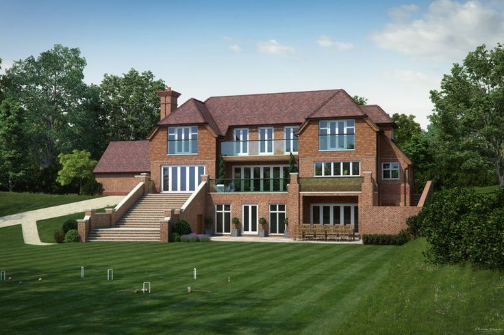Artist impression of the rear elevation and garden for a new house in Surrey - Charles Roberts Studios : Charles Roberts Studios