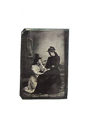 Antique tintype picture photo photograph on metal two sisters or mother daughter