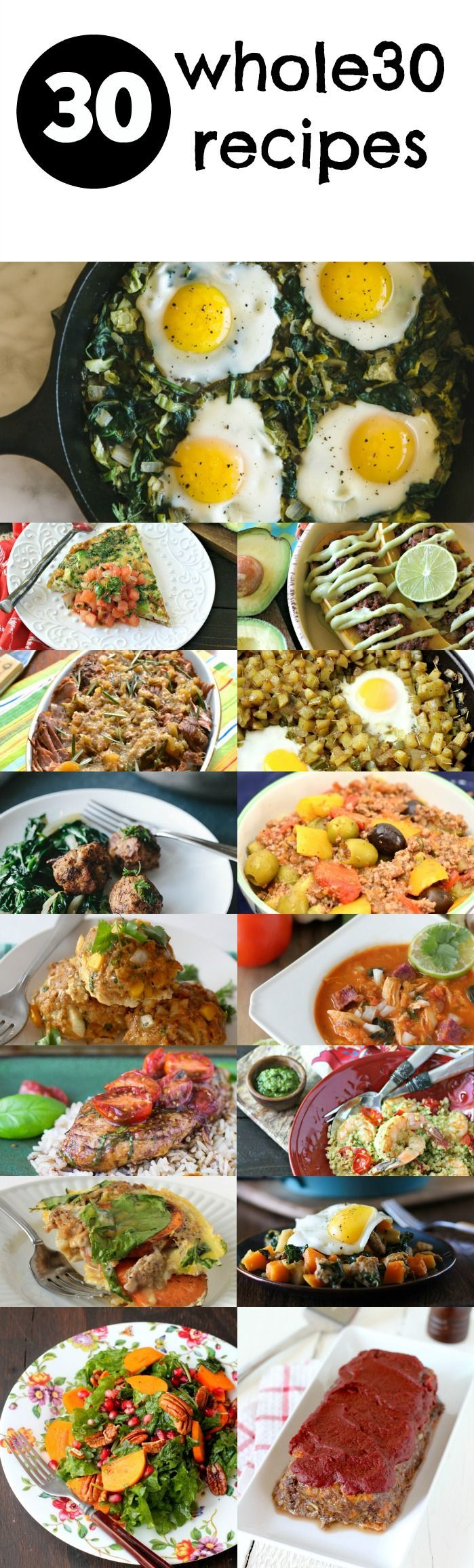 30 Whole30 Recipes to help you kickstart your 2016! Including Whole30 Breakfast Recipes, Whole30 Lunch Recipes, and Whole30 Dinners!