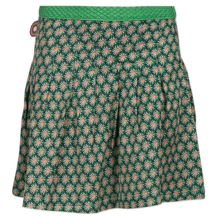 Meisjes rokje Made For Love van het merk 4funkyflavours.  Dit is een groen kleurig zomer rokje zonder sluiting, met een elastische taille. Het rokje heeft een all over retro print.