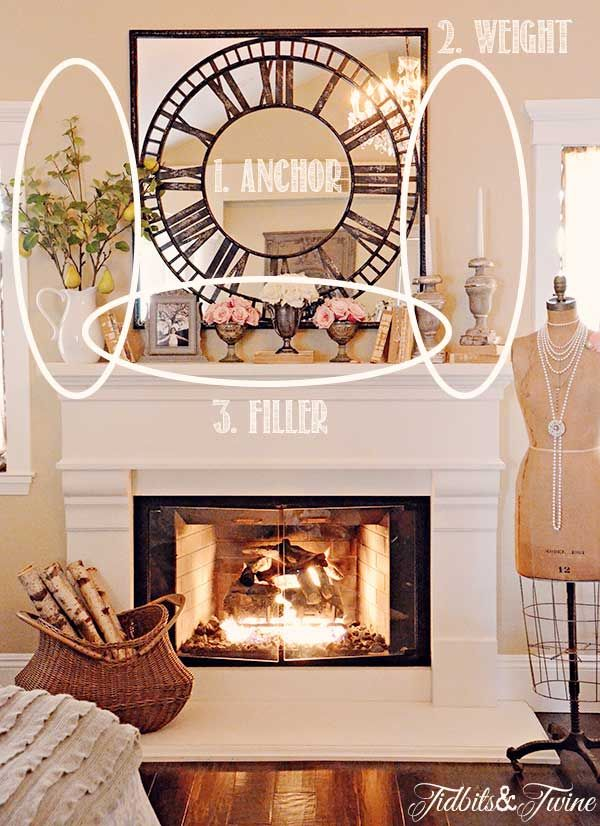 The general idea of accessorizing a mantel is good to follow - this mantel is a little too busy. Good to be simple.