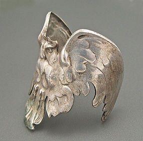 Cuff bracelet   Designer ? Handcrafted art Nouveau/Jugendstil era (pre 1920) Silver over bronze owl cuff.
