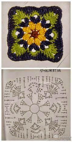 Diagramas de squares y grannys tejidos al crochet, algunos con combinación de colores que le da un realce especial. Click en cada uno para a...