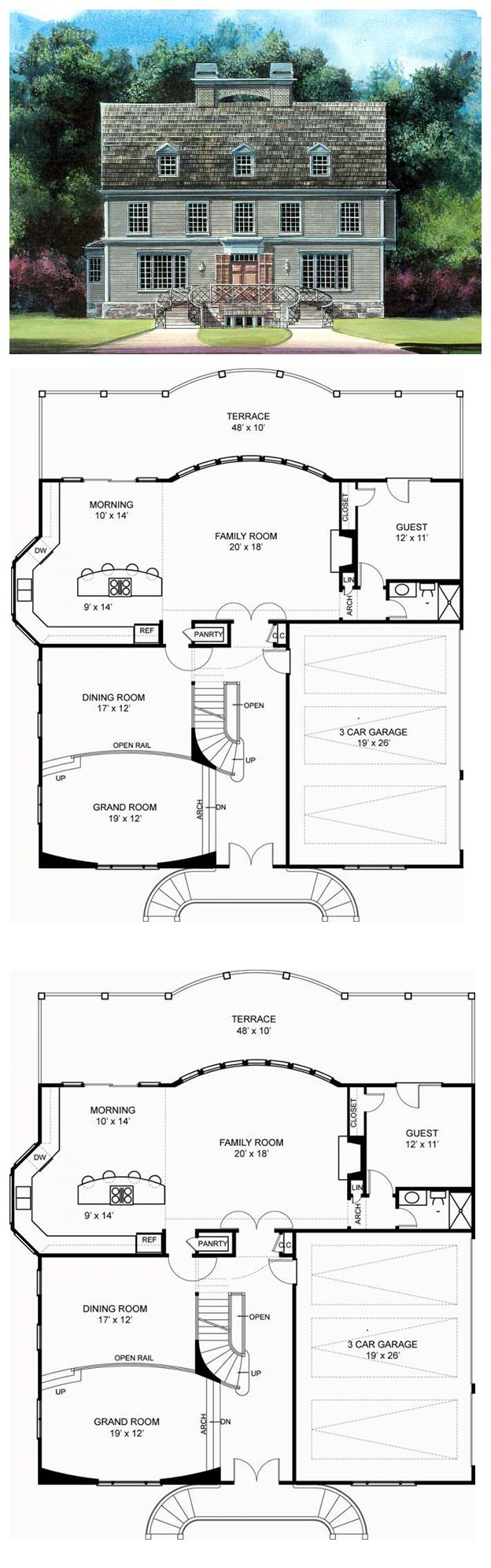 1000 images about greek revival house plans on pinterest for Rear access home designs