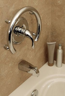 ADA compliant grab bars... that don't really look like grab bars. Bathroom safety doesn't have to look boring and universal designing can be done tastefully.