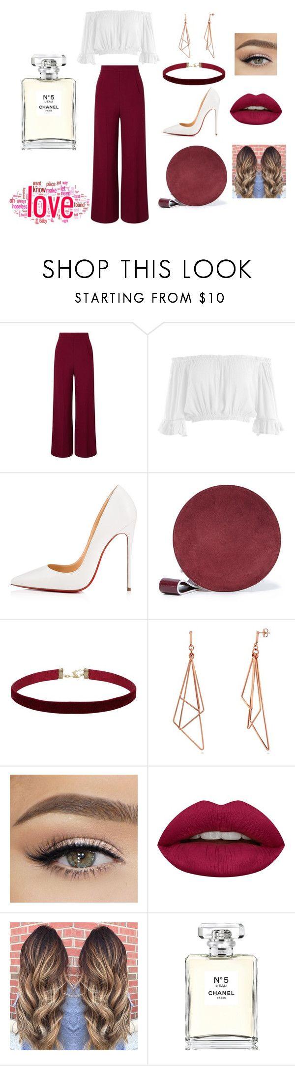 """White and Burgundy"" by zeynepkilic889 on Polyvore featuring moda, Roland Mouret, Sans Souci, Christian Louboutin, Diane Von Furstenberg, Huda Beauty ve Chanel"