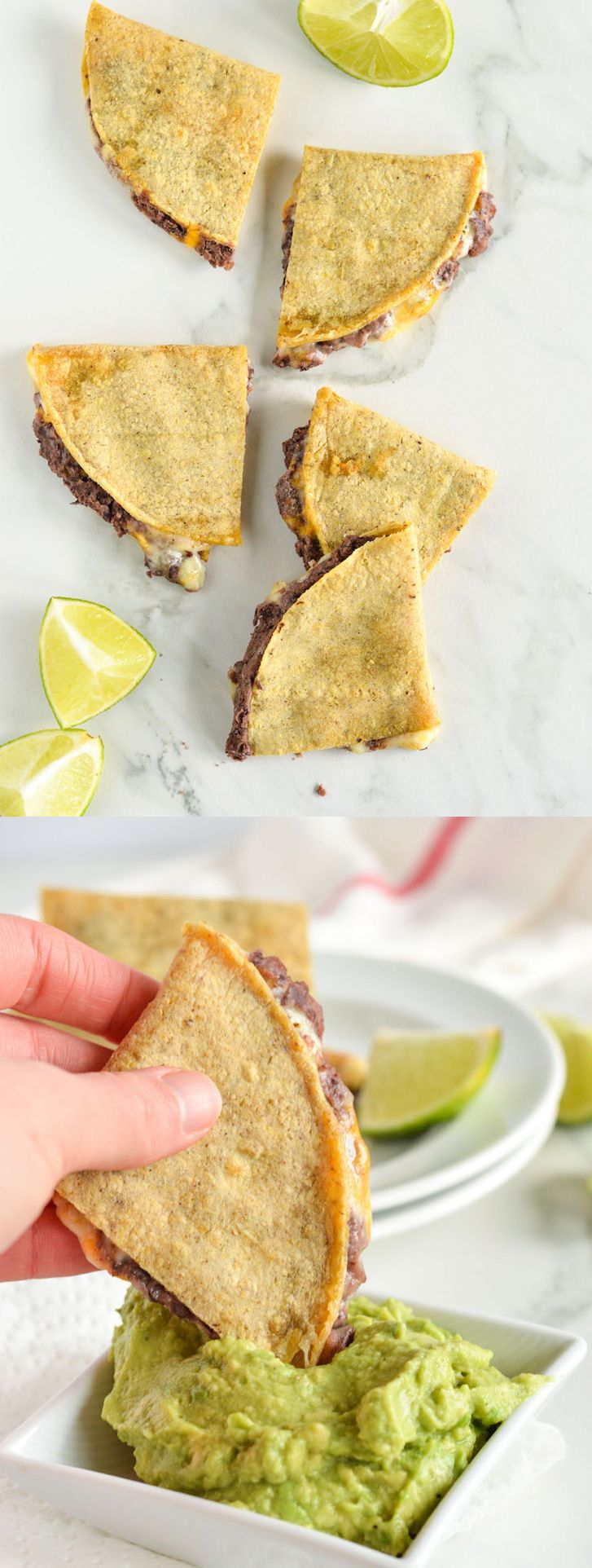 Easy Cheesy Black Bean Quesadillas with Guac | nourishedtheblog.com | A recipe for Easy Cheesy Black Bean Quesadillas with Guacamole made gluten free, vegetarian and delicious with corn tortillas, melted cheese and a spicy yet super flavourful black bean puree. Click through for this recipe.