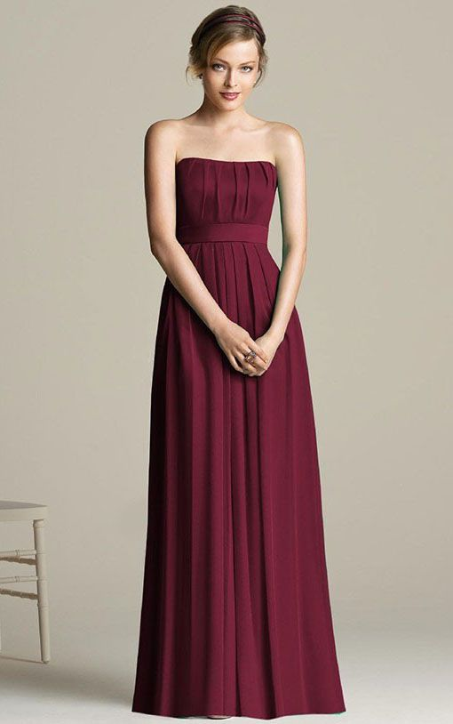 Dropped Chiffon Strapless Floor-length A-line Bridesmaid Dresses
