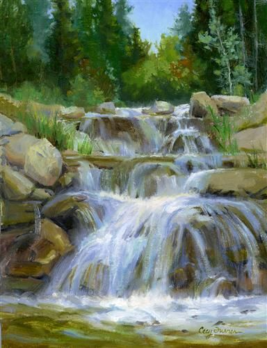 Original art for sale at UGallery.com | Waterfall on Lake Creek Trail by Cecy Turner | $450 | oil painting | 12 h x 9 w | http://www.ugallery.com/oil-painting-waterfall-on-lake-creek-trail