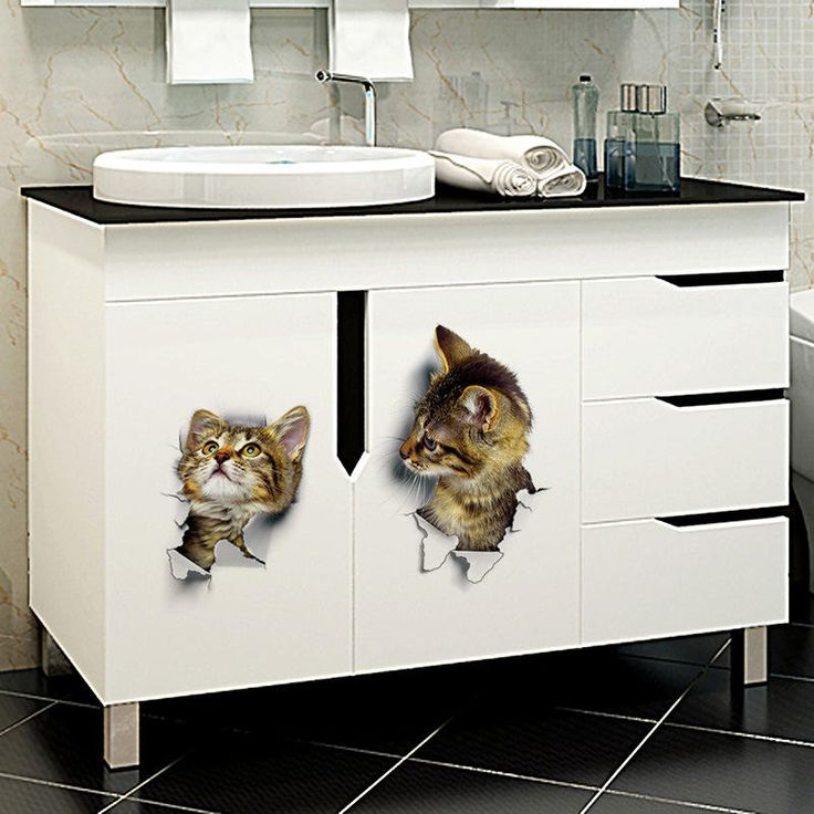 3D Cute Cat Wall Stickers Toliet Stickers Decorations Creative ...