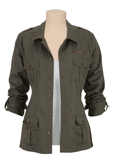 4 pocket Military Shirt Jacket available at #Maurices I have so many outfits ideas in my head when I see this!!!
