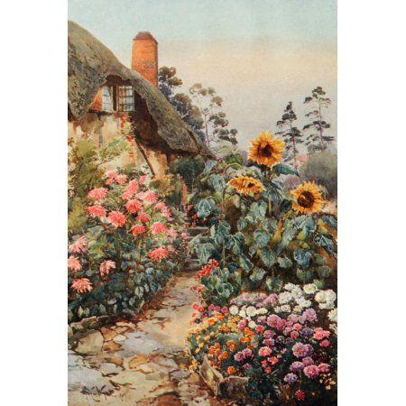 Nature Book 1908 Anne Hathaways Cottage Canvas Art - Arthur Wyatt (18 x 24)