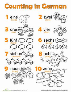 First Grade German Foreign Language Worksheets: German Numbers