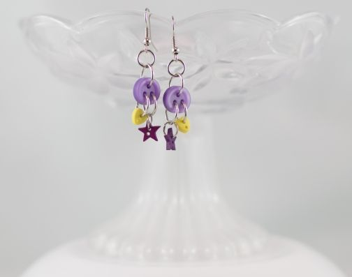 Purple circle yellow heart purple star dangling button earrings