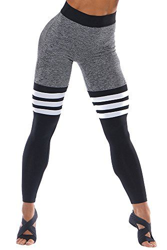 af13181ddfe2e Ferbia Womens Striped Color Block High Waist Thigh Highs Tummy Control  Stretch Workout Leggings