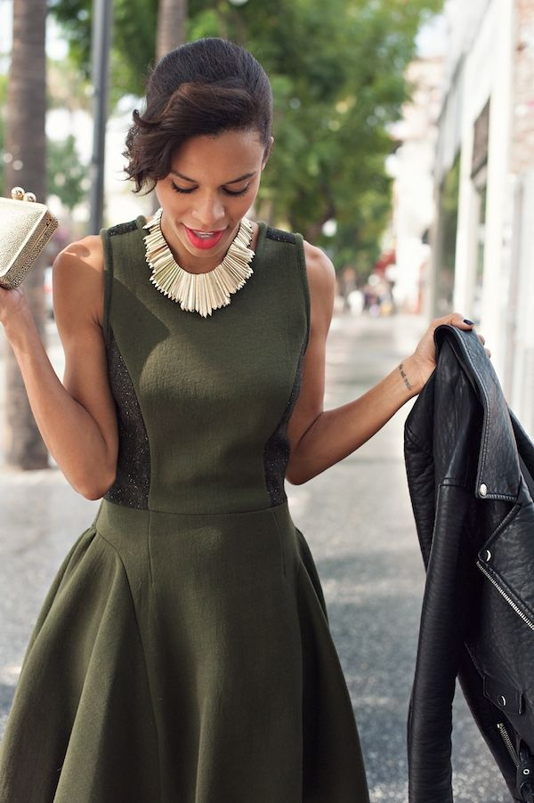 my smilestyle skirt dress in olive green gold