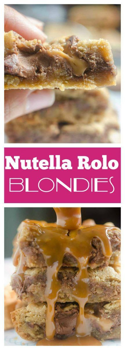 Nutella Rolo Blondies are the perfect bar for chocolate, hazelnut & caramel lovers. Traditional blondies with a center of nutella and chopped rolo candies.