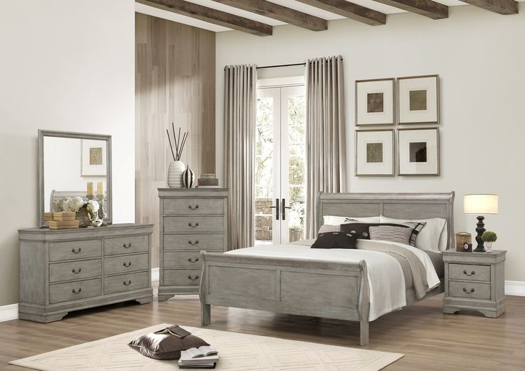 Romantic Louis Phillip Queen Bed  With a bold shapely design, soft curves Includes: Bed (Headboard, Foot board, Side Rails & Slats) +Night Stand+Dresser+Mirror Visit Here  #LouisPhillip #Bedroomsuite #QueenBed #Classicstyle #Decore