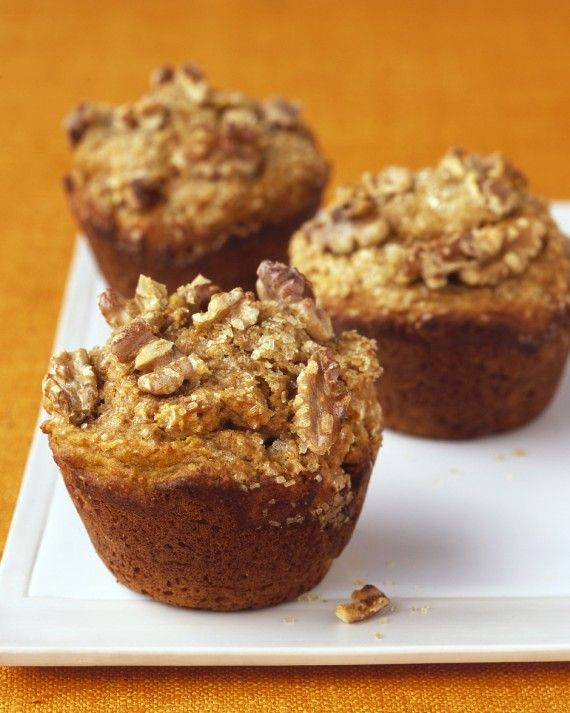 Giant muffins are made healthy with whole-wheat flour, yogurt -- which yields a light and tender crumb -- and plenty of walnuts, plus there's everyone's favorite fall flavor, pumpkin pie spice.