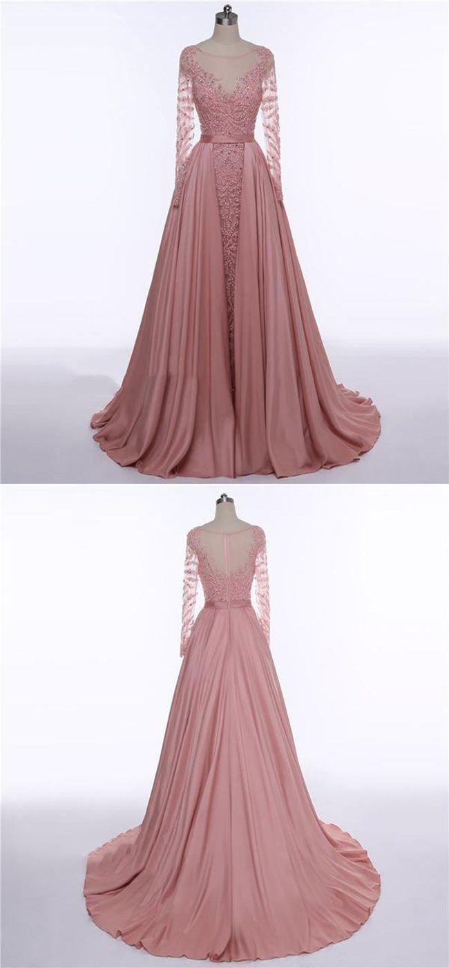 Aline scoop neckline satin long sleeves prom dressesvppd in