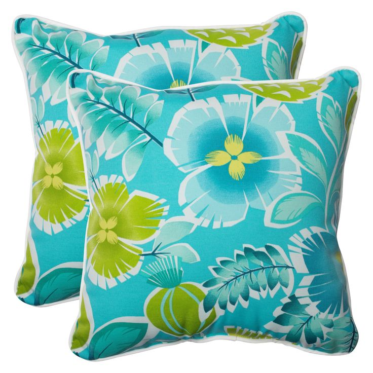 Pillow Perfect Calypso Outdoor 2-Piece Square Throw Pillow Set - Green