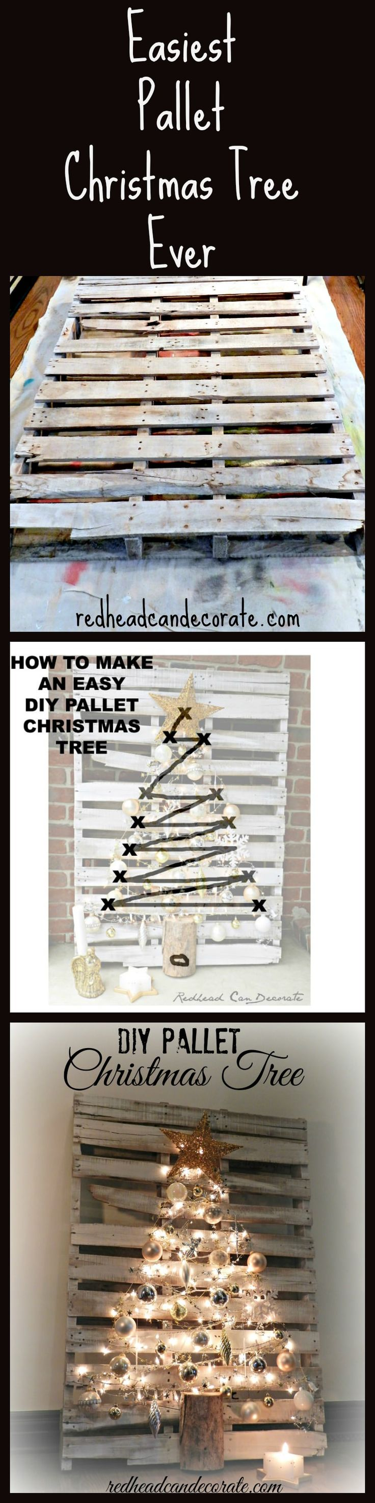 Easiest Pallet Christmas Tree Tutorial…I did this in one night, and it cost me under $10. @redheadcandecorate.com