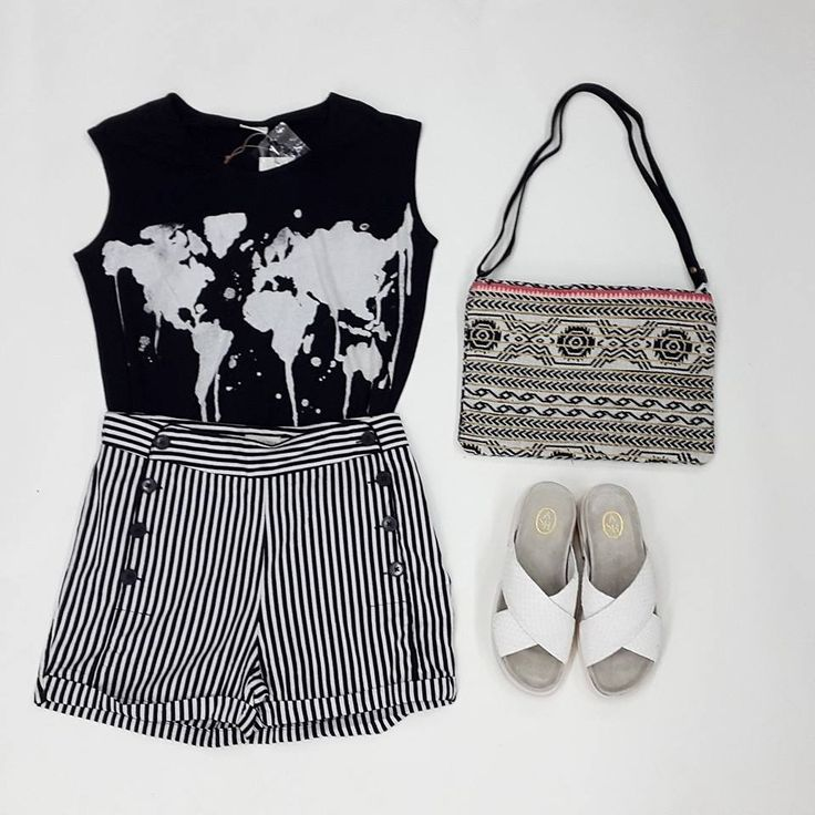 Look of the week   Antonella Boutique #Numph #Tshirt #Shorts #yerse #Bags #Boho #Ash #Sandals