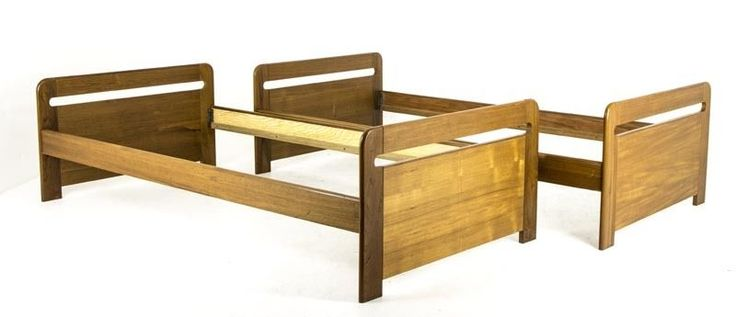 B648 Danish MidCentury Modern Pair of Single Teak Twin Beds, With Rails
