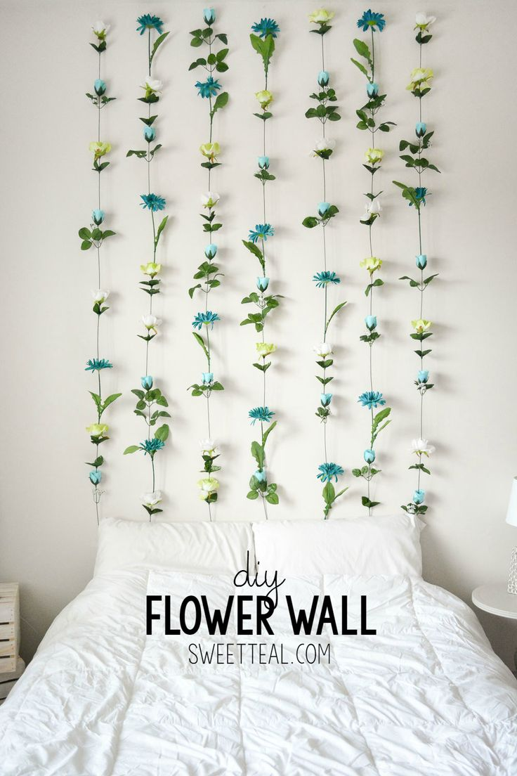 Diy bedroom decor ideas - Diy Flower Wall Headboard Tutorial Diy Headboard Cheapheadboard Floral Room