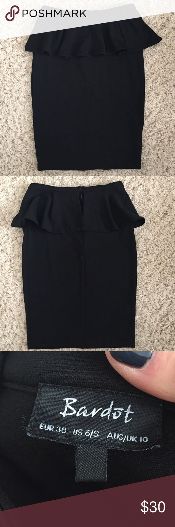 Black peplum skirt Black peplum skirt in great condition. Zipper and clasp in back. High waisted, and perfect for those of us who have too long of torsos for the actual peplum shirt! Came from a boutique in San Fran. Runs small. Bardst Skirts Midi