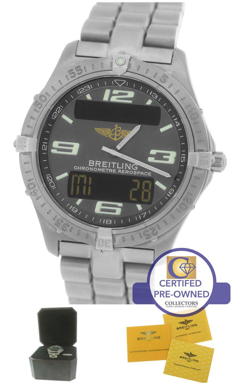 Men's Breitling Aerospace Titanium E75362 Digital Grey 40mm Arabic Quartz Watch