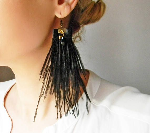 Black ostrich feather earrings with crystal drop beads Extra