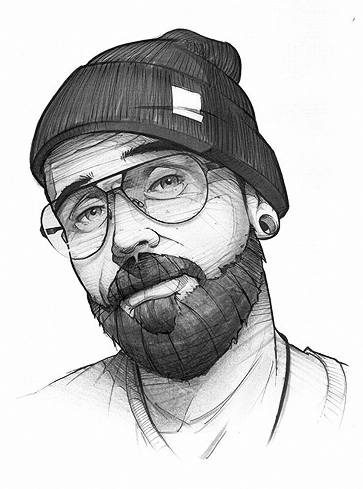 HUMPHREY'S X HOMBRE Eyewear {contemporary graffiti art male head eyeglasses bearded man face portrait drawing #loveart}