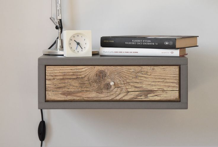 Floating Nightstands with Drawer in old wood Scandinavian design / Bedside table / Floating table / wooden console in mid century style