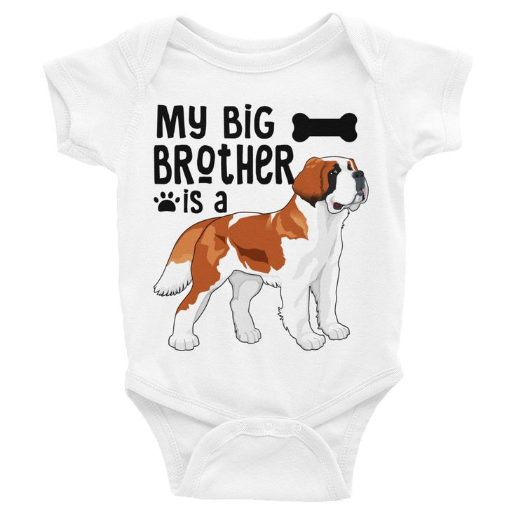 St. Bernard Big Brother Little Brother Onesie, Dog Sibling Baby Onesies, St Bernand Baby Clothes, Dog Baby Clothes, My Big Brother is a Dog http://etsy.me/2Fuo2wx #clothing #children #bodysuit #dogbabyclothes #bigbrother #saintbernard #littlebrother #onesie #dog