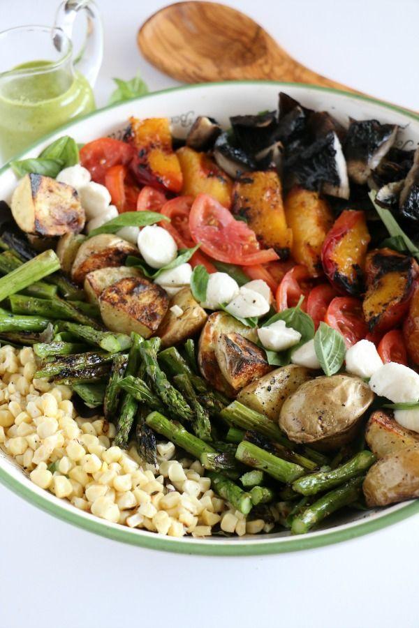 Healthy Summer Cobb Salad with Lemon-Basil Pesto Vinaigrette #buzzfeast