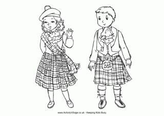Scottish Children Colouring Page