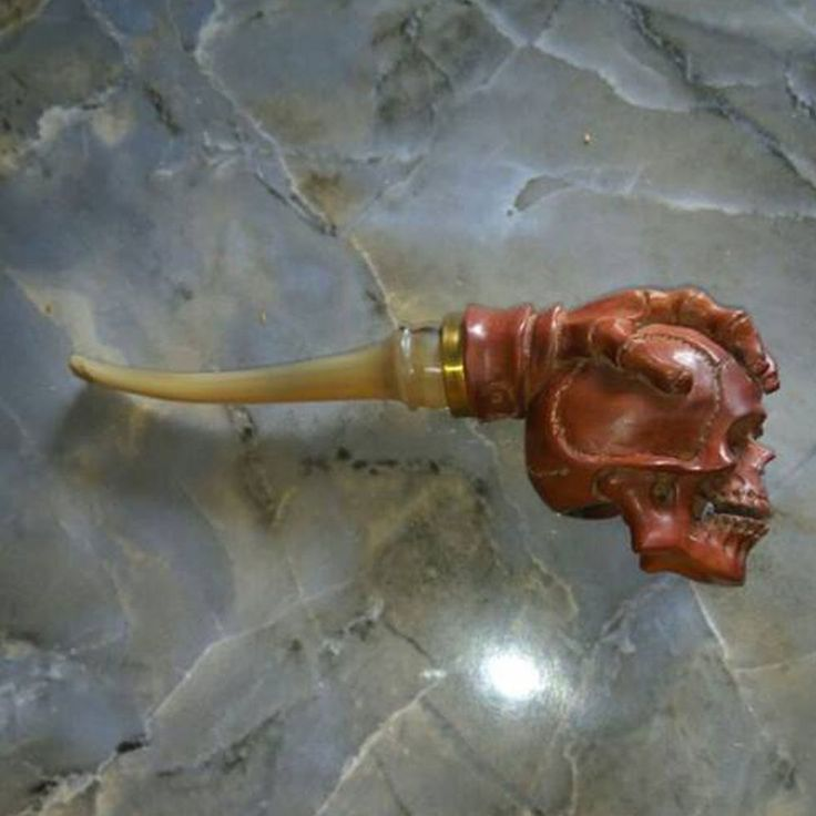 Hand Carved Wooden Tobacco Pipes Hand Skull Carving Horn Stem #2